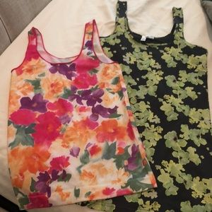 Tops - Two Floral spandex tanks